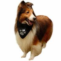 Pet Bandana, Cotton Rhinestone Bone Paw and Skull Pattern Dog Scarf Pet Bandana Scarf for Dog Cat (Black)