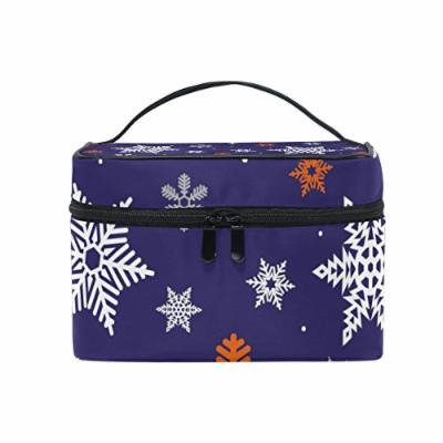 Portable Travel Makeup Cosmetic Bag Classic Christmas Snowflakes Pattern Durable Toiletry Organizer Train Case for Women Girls