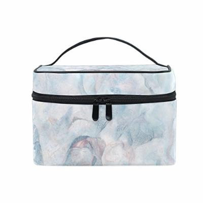 Portable Travel Makeup Cosmetic Bag Marble Texture Design Durable Toiletry Organizer Train Case for Women Girls