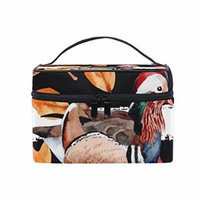 Portable Travel Makeup Cosmetic Bag Duck Maple Leaves Durable Toiletry Organizer Train Case for Women Girls