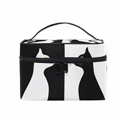 Portable Travel Makeup Cosmetic Bag Black White Cats Silhouette Durable Toiletry Organizer Train Case for Women Girls
