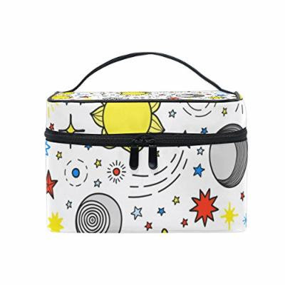 Portable Travel Makeup Cosmetic Bag Cute Cartoon Sun Moon and Stars Durable Toiletry Organizer Train Case for Women Girls
