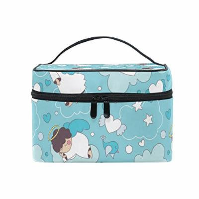Portable Travel Makeup Cosmetic Bag Cute Cartoon Little Angels Durable Toiletry Organizer Train Case for Women Girls