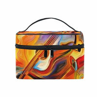 Portable Travel Makeup Cosmetic Bag Colorful Musical Shapes Melody Design Durable Toiletry Organizer Train Case for Women Girls