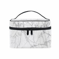 Portable Travel Makeup Cosmetic Bag White Marble Texture Print Durable Toiletry Organizer Train Case for Women Girls