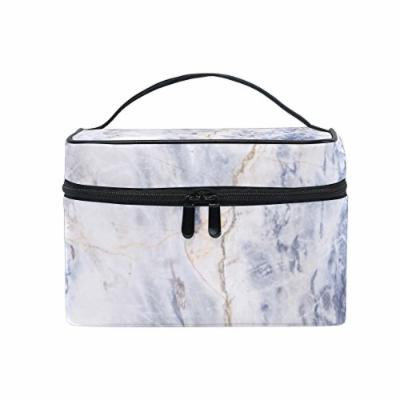 Portable Travel Makeup Cosmetic Bag Marble Stone Texture Background Print Durable Toiletry Organizer Train Case for Women Girls