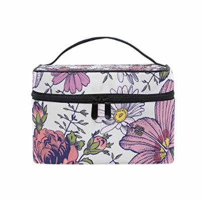 Portable Travel Makeup Cosmetic Bag Retro Flowers Durable Toiletry Organizer Train Case for Women Girls