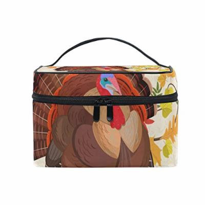 Portable Travel Makeup Cosmetic Bag Happy Thanksgiving Beautiful Turkey and Autumn Leaves Durable Toiletry Organizer Train Case for Women Girls