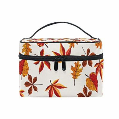 Portable Travel Makeup Cosmetic Bag Hand Draw Autumn Leaves Pattern Durable Toiletry Organizer Train Case for Women Girls