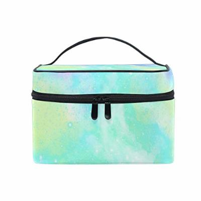 Portable Travel Makeup Cosmetic Bag Colorful Unicorn Marble Print Durable Toiletry Organizer Train Case for Women Girls