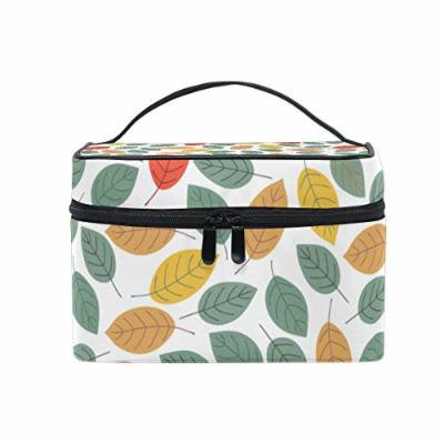 Portable Travel Makeup Cosmetic Bag Abstract Autumn Leaves Durable Toiletry Organizer Train Case for Women Girls
