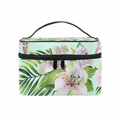 Portable Travel Makeup Cosmetic Bag Tropical Watercolor Flowers Durable Toiletry Organizer Train Case for Women Girls