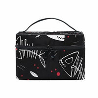 Portable Travel Makeup Cosmetic Bag Halloween Fish Skeletons Durable Toiletry Organizer Train Case for Women Girls