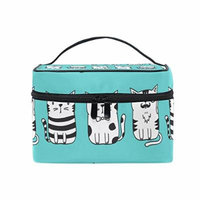 Portable Travel Makeup Cosmetic Bag Doodle Funny Cats Pattern Durable Toiletry Organizer Train Case for Women Girls