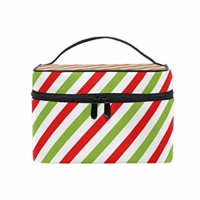 Portable Travel Makeup Cosmetic Bag Christmas Red Green Diagonal Stripes Durable Toiletry Organizer Train Case for Women Girls