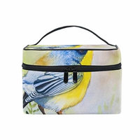 Portable Travel Makeup Cosmetic Bag Watercolor Bird Durable Toiletry Organizer Train Case for Women Girls