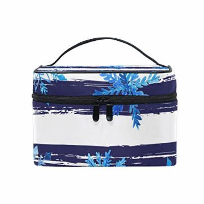 Portable Travel Makeup Cosmetic Bag Watercolor Snowflakes Stripes Durable Toiletry Organizer Train Case for Women Girls