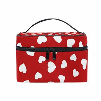 Portable Travel Makeup Cosmetic Bag Heart Pattern Durable Toiletry Organizer Train Case for Women Girls