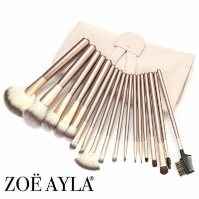 Zoë Ayla Makeup Brush Set, 24 Piece, BONUS Includes Purse Style Roll-Up Travel Case