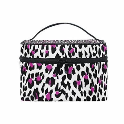 Portable Travel Makeup Cosmetic Bag Geometric Leopard Skin Print Durable Toiletry Organizer Train Case for Women Girls