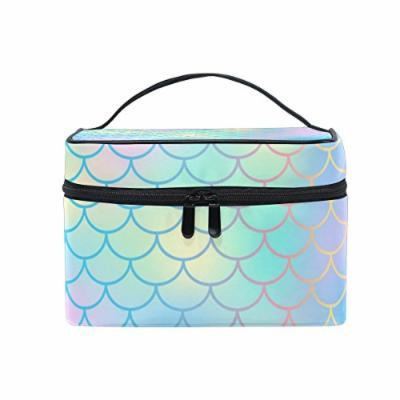 Portable Travel Makeup Cosmetic Bag Candy Color Magic Mermaid Fish Scale Pattern Durable Toiletry Organizer Train Case for Women Girls