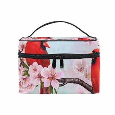 Portable Travel Makeup Cosmetic Bag Two Red Birds Blossom Branch Durable Toiletry Organizer Train Case for Women Girls