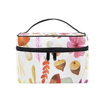 Portable Travel Makeup Cosmetic Bag Watercolor Leaves Flowers Mushroom Durable Toiletry Organizer Train Case for Women Girls