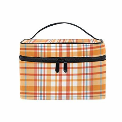 Portable Travel Makeup Cosmetic Bag Yellow White Tartan Pattern Durable Toiletry Organizer Train Case for Women Girls