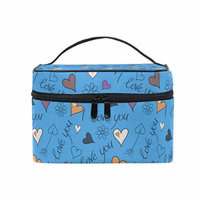 Portable Travel Makeup Cosmetic Bag Doodle Hearts I Love You Durable Toiletry Organizer Train Case for Women Girls