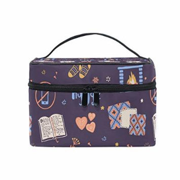 Portable Travel Makeup Cosmetic Bag Vector Seamless Books Candles Socks Pattern Durable Toiletry Organizer Train Case for Women Girls
