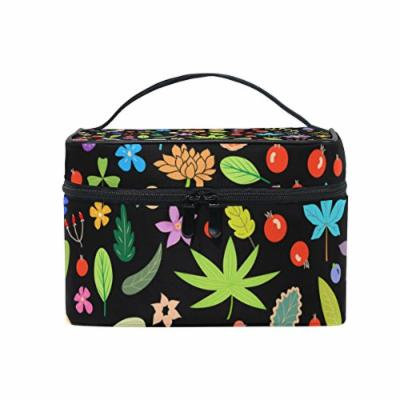 Portable Travel Makeup Cosmetic Bag Floral Leaves Berries Birds Flowers Durable Toiletry Organizer Train Case for Women Girls