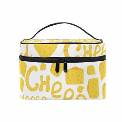 Portable Travel Makeup Cosmetic Bag I Love Cheese Durable Toiletry Organizer Train Case for Women Girls