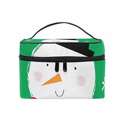Portable Travel Makeup Cosmetic Bag Winter Cute Snowman Durable Toiletry Organizer Train Case for Women Girls