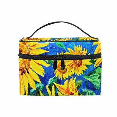 Portable Travel Makeup Cosmetic Bag Oil Painting Yellow Sunflowers Durable Toiletry Organizer Train Case for Women Girls