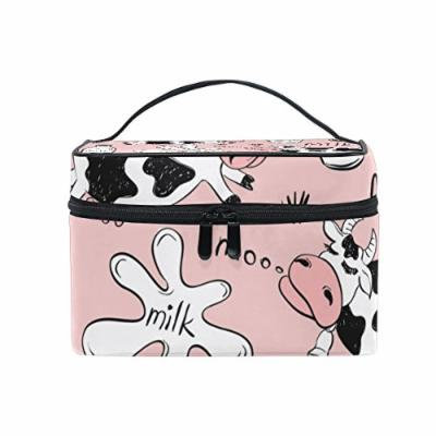 Portable Travel Makeup Cosmetic Bag Funny Cows and Milk Pink Durable Toiletry Organizer Train Case for Women Girls