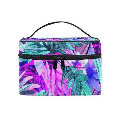 Portable Travel Makeup Cosmetic Bag Neon Floral Tropical Leaves Print Durable Toiletry Organizer Train Case for Women Girls