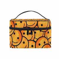 Portable Travel Makeup Cosmetic Bag Watercolor Smiley Emoji Emotion Face Modern Durable Toiletry Organizer Train Case for Women Girls