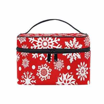 Portable Travel Makeup Cosmetic Bag Christmas Beautiful White Snowflakes Red Durable Toiletry Organizer Train Case for Women Girls
