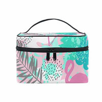 Portable Travel Makeup Cosmetic Bag Abstract Flamingo Durable Toiletry Organizer Train Case for Women Girls