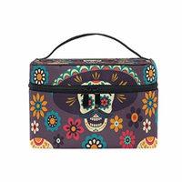 Portable Travel Makeup Cosmetic Bag Floral Sugar Skulls Durable Toiletry Organizer Train Case for Women Girls