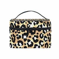 Portable Travel Makeup Cosmetic Bag Trendy Leopard Pattern Durable Toiletry Organizer Train Case for Women Girls