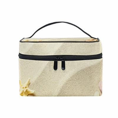 Portable Travel Makeup Cosmetic Bag Beach Sand Shells Starfish Durable Toiletry Organizer Train Case for Women Girls