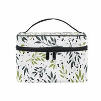 Portable Travel Makeup Cosmetic Bag Fresh Summer Green Branches Leaves Durable Toiletry Organizer Train Case for Women Girls
