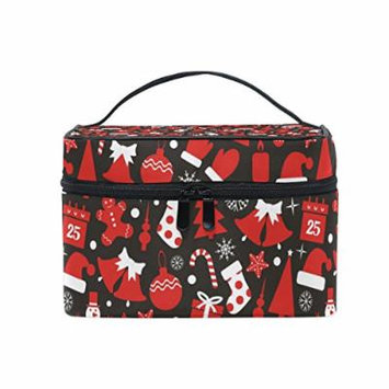 Portable Travel Makeup Cosmetic Bag Snowman Candle Hat Bells Durable Toiletry Organizer Train Case for Women Girls