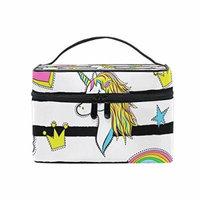 Portable Travel Makeup Cosmetic Bag Trendy Cartoon Unicorns Rainbows Hearts Durable Toiletry Organizer Train Case for Women Girls