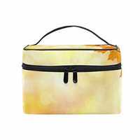 Portable Travel Makeup Cosmetic Bag Autumn Harvest Maple Leaves Durable Toiletry Organizer Train Case for Women Girls