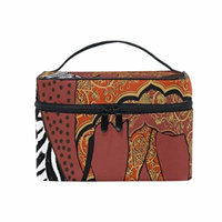 Portable Travel Makeup Cosmetic Bag Ethnic African Elephant Pattern Durable Toiletry Organizer Train Case for Women Girls