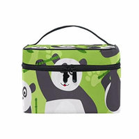 Portable Travel Makeup Cosmetic Bag Panda Bear Bamboo Durable Toiletry Organizer Train Case for Women Girls
