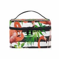 Portable Travel Makeup Cosmetic Bag Flamingo Bird Tropical Flowers Stripes Durable Toiletry Organizer Train Case for Women Girls