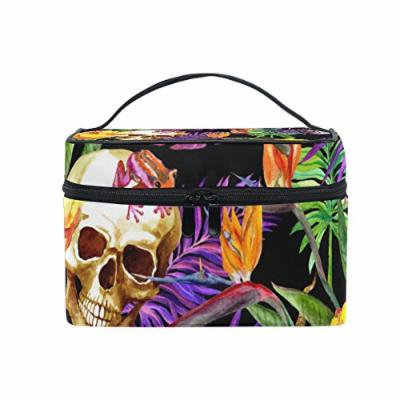 Portable Travel Makeup Cosmetic Bag Tropical Leaves Human Skulls Durable Toiletry Organizer Train Case for Women Girls